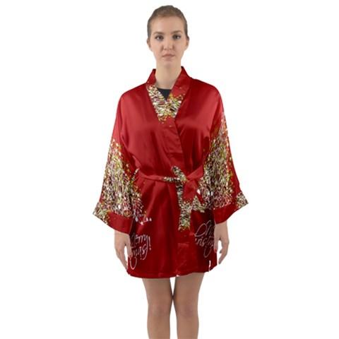 Tree Merry Christmas Red Star Long Sleeve Kimono Robe