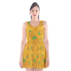 Fruit Pineapple Yellow Green Scoop Neck Skater Dress by Alisyart