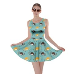 Spider Grey Orange Animals Cute Cartoons Skater Dress