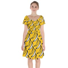 Fruit Bananas Yellow Orange White Short Sleeve Bardot Dress