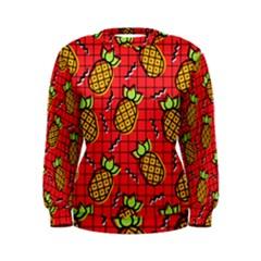 Fruit Pineapple Red Yellow Green Women s Sweatshirt by Alisyart