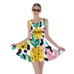 Fruit Pattern Pineapple Leaf Skater Dress