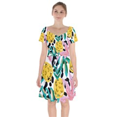 Fruit Pattern Pineapple Leaf Short Sleeve Bardot Dress by Alisyart