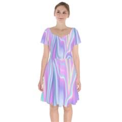 Holographic Design Short Sleeve Bardot Dress by tarastyle