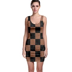 Square1 Black Marble & Brown Denim Bodycon Dress