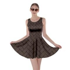 Brick2 Black Marble & Dark Brown Wood Skater Dress by trendistuff