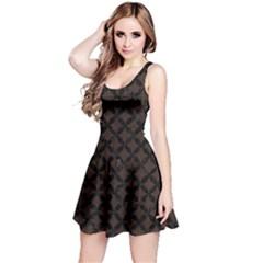 Circles3 Black Marble & Dark Brown Wood Reversible Sleeveless Dress by trendistuff