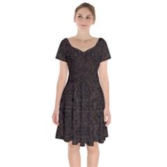 Damask2 Black Marble & Dark Brown Wood Short Sleeve Bardot Dress by trendistuff
