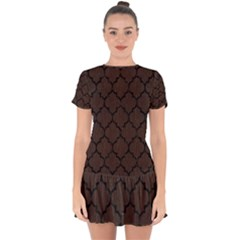 Tile1 Black Marble & Dark Brown Wood Drop Hem Mini Chiffon Dress by trendistuff