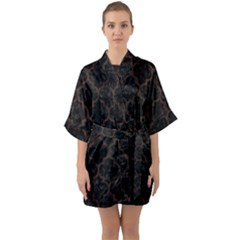 Tile1 Black Marble & Dark Brown Wood (r) Quarter Sleeve Kimono Robe by trendistuff