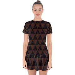 Triangle3 Black Marble & Dark Brown Wood Drop Hem Mini Chiffon Dress by trendistuff
