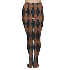 Diamond1 Black Marble & Dull Brown Leather Women s Tights by trendistuff