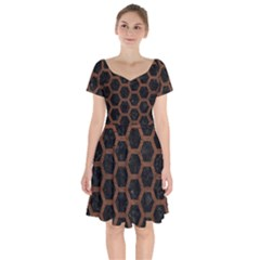 Hexagon2 Black Marble & Dull Brown Leather (r) Short Sleeve Bardot Dress