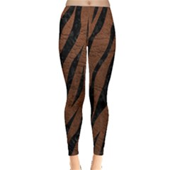 Skin3 Black Marble & Dull Brown Leather Leggings  by trendistuff