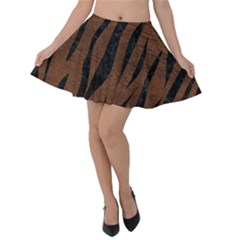 Skin3 Black Marble & Dull Brown Leather Velvet Skater Skirt by trendistuff