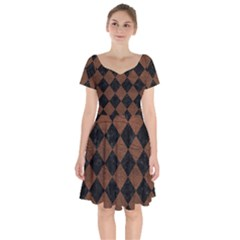 Square2 Black Marble & Dull Brown Leather Short Sleeve Bardot Dress by trendistuff