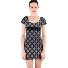 Circles3 Black Marble & Gray Brushed Metal Short Sleeve Bodycon Dress by trendistuff