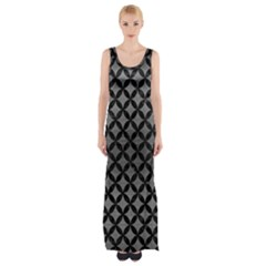 Circles3 Black Marble & Gray Brushed Metal Maxi Thigh Split Dress