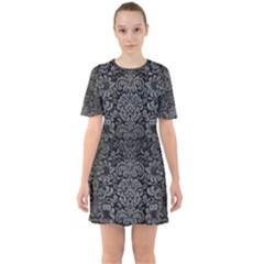 Damask2 Black Marble & Gray Brushed Metal (r) Sixties Short Sleeve Mini Dress by trendistuff