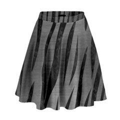 Skin3 Black Marble & Gray Brushed Metal High Waist Skirt by trendistuff