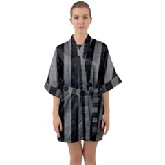 Stripes1 Black Marble & Gray Brushed Metal Quarter Sleeve Kimono Robe