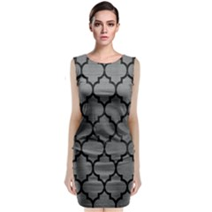 Tile1 Black Marble & Gray Brushed Metal Classic Sleeveless Midi Dress by trendistuff