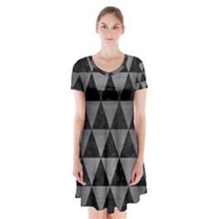 Triangle3 Black Marble & Gray Brushed Metal Short Sleeve V Neck Flare Dress by trendistuff