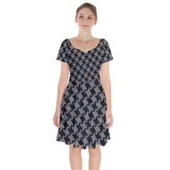 Houndstooth2 Black Marble & Gray Denim Short Sleeve Bardot Dress by trendistuff