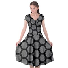 Hexagon2 Black Marble & Gray Denim Cap Sleeve Wrap Front Dress by trendistuff