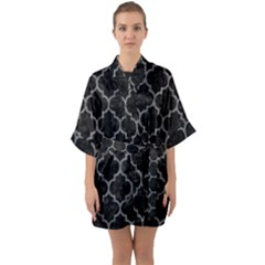Tile1 Black Marble & Gray Denim (r) Quarter Sleeve Kimono Robe