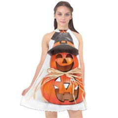 Funny Halloween Pumpkins Halter Neckline Chiffon Dress  by gothicandhalloweenstore