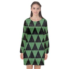 Triangle3 Black Marble & Green Denim Long Sleeve Chiffon Shift Dress  by trendistuff