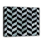 CHEVRON1 BLACK MARBLE & ICE CRYSTALS Canvas 14  x 11