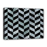 CHEVRON1 BLACK MARBLE & ICE CRYSTALS Canvas 16  x 12