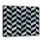 CHEVRON1 BLACK MARBLE & ICE CRYSTALS Canvas 20  x 16