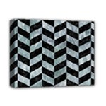 CHEVRON1 BLACK MARBLE & ICE CRYSTALS Deluxe Canvas 14  x 11