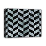 CHEVRON1 BLACK MARBLE & ICE CRYSTALS Deluxe Canvas 16  x 12