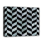 CHEVRON1 BLACK MARBLE & ICE CRYSTALS Deluxe Canvas 20  x 16