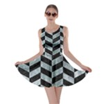 CHEVRON1 BLACK MARBLE & ICE CRYSTALS Skater Dress