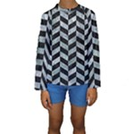 CHEVRON1 BLACK MARBLE & ICE CRYSTALS Kids  Long Sleeve Swimwear