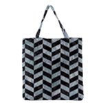 CHEVRON1 BLACK MARBLE & ICE CRYSTALS Grocery Tote Bag