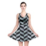 CHEVRON1 BLACK MARBLE & ICE CRYSTALS Reversible Skater Dress
