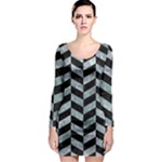 CHEVRON1 BLACK MARBLE & ICE CRYSTALS Long Sleeve Bodycon Dress
