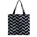 CHEVRON1 BLACK MARBLE & ICE CRYSTALS Zipper Grocery Tote Bag