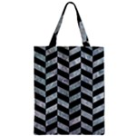 CHEVRON1 BLACK MARBLE & ICE CRYSTALS Zipper Classic Tote Bag