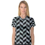 CHEVRON1 BLACK MARBLE & ICE CRYSTALS V-Neck Sport Mesh Tee