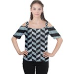 CHEVRON1 BLACK MARBLE & ICE CRYSTALS Cutout Shoulder Tee