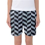 CHEVRON1 BLACK MARBLE & ICE CRYSTALS Women s Basketball Shorts