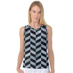 CHEVRON1 BLACK MARBLE & ICE CRYSTALS Women s Basketball Tank Top