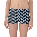 CHEVRON1 BLACK MARBLE & ICE CRYSTALS Boyleg Bikini Bottoms